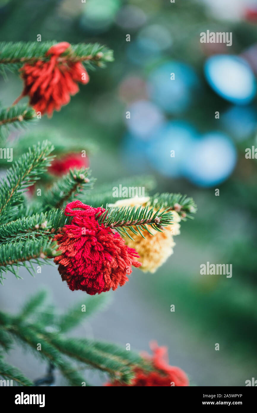Wool Handmade Decoration On A Christmas Tree Outdoor Diy Yarn Crafts Creative Ideas For Children Environment Recycle And Zero Waste Concept Select Stock Photo Alamy