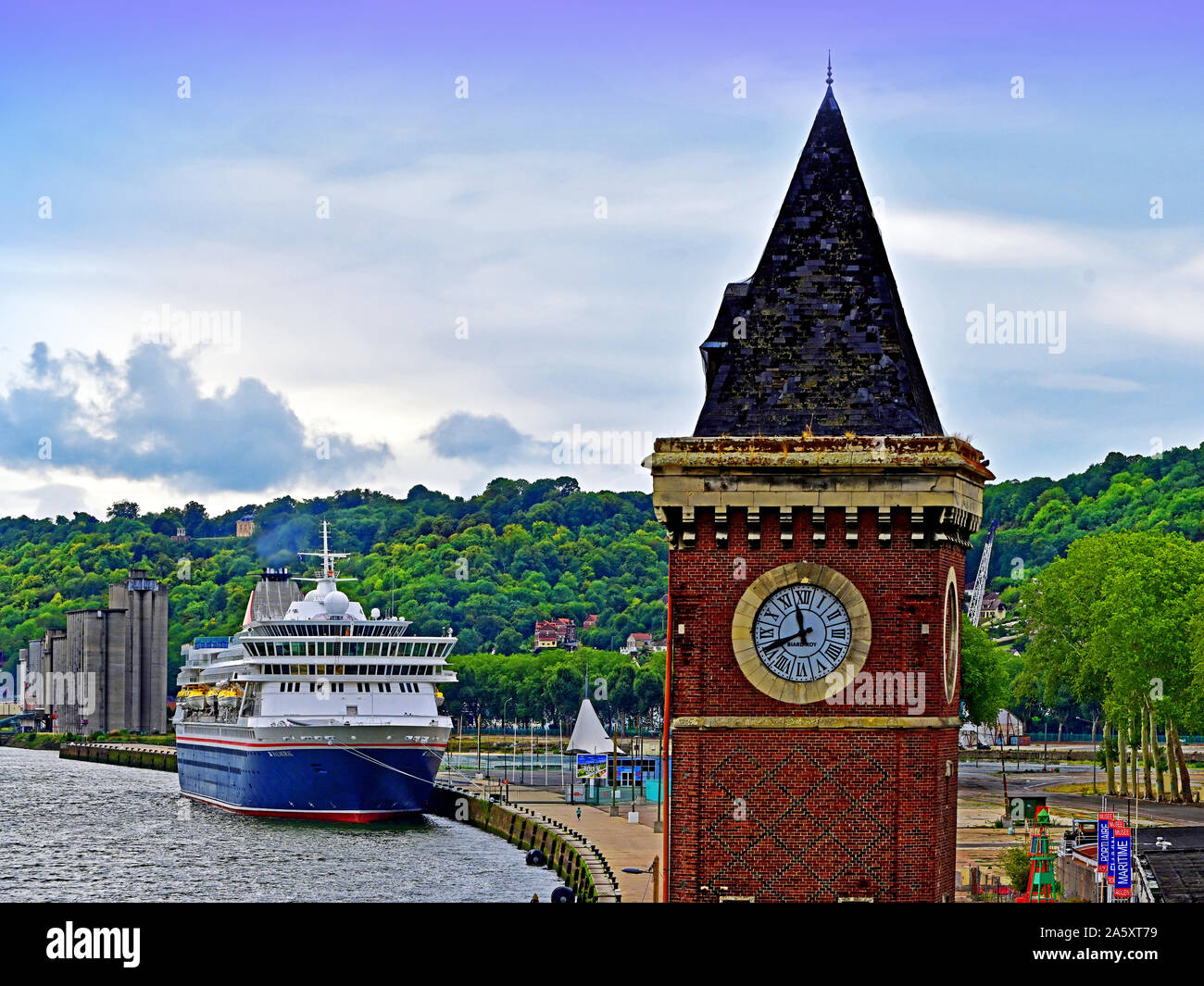 Rouen Normandy August 13 2019 Fred Olsen cruise ship Balmoral on the quayside Stock Photo