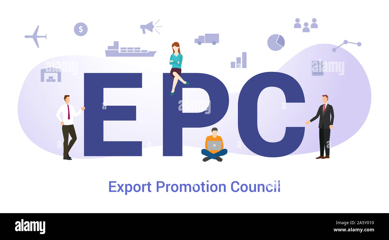 epc export promotion council concept with big word or text and team people with modern flat style - vector illustration Stock Photo