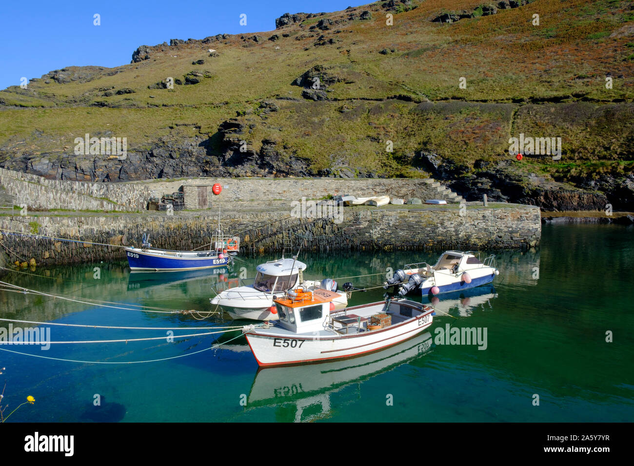 The harbour at Boscastle Plymouth Cornwall England Stock Photo