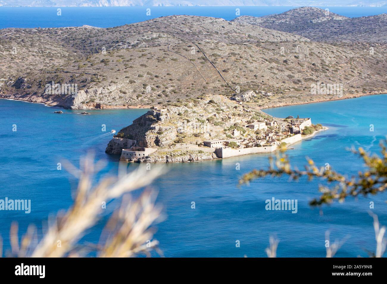 Spinalonga Island, panoramic view. Crete, Greece. Stock Photo