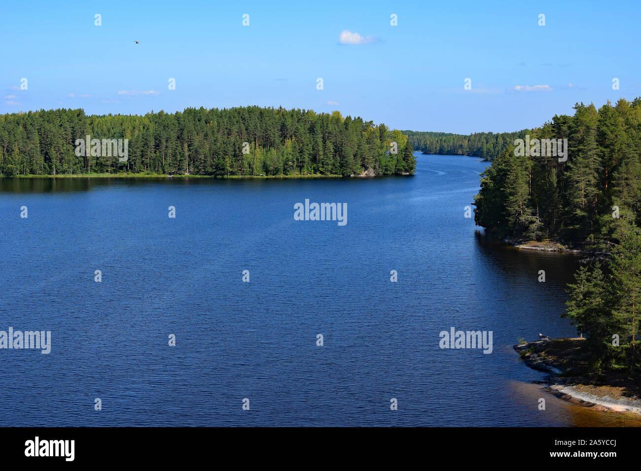 Lake Saimaa from Toijansalmi bridge, Taipalsaari, Finland. Stock Photo