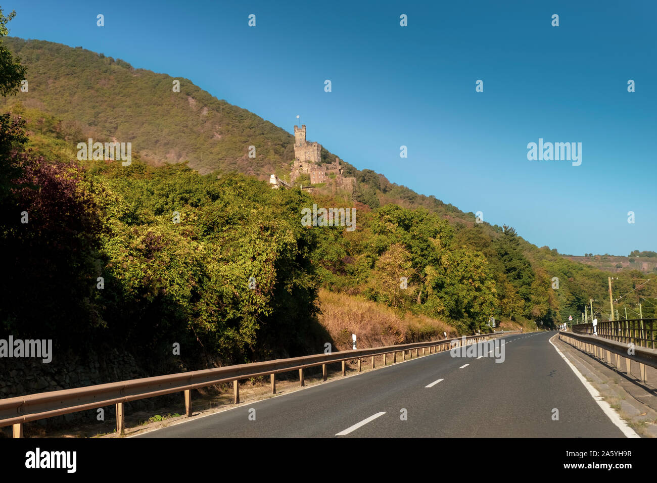 Sooneck Castle in the Rhine Valley, viewed from the road, on a sunny autumn day. Stock Photo