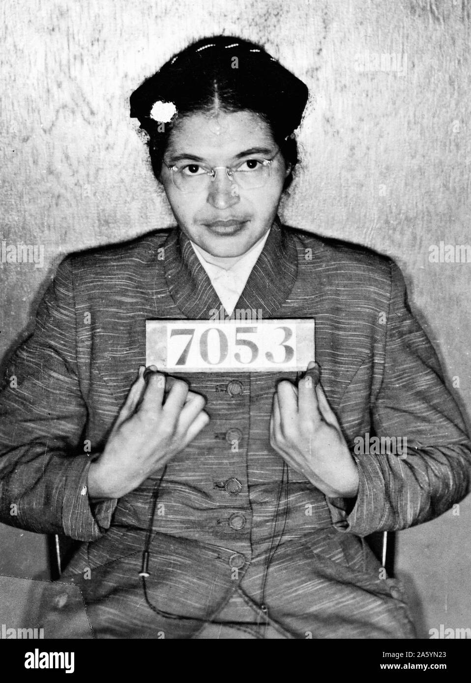 Rosa Parks Mug Shot 1955. Arrested for refusing to relinquish her seat on a bus in Montgomery, Alabama. Stock Photo