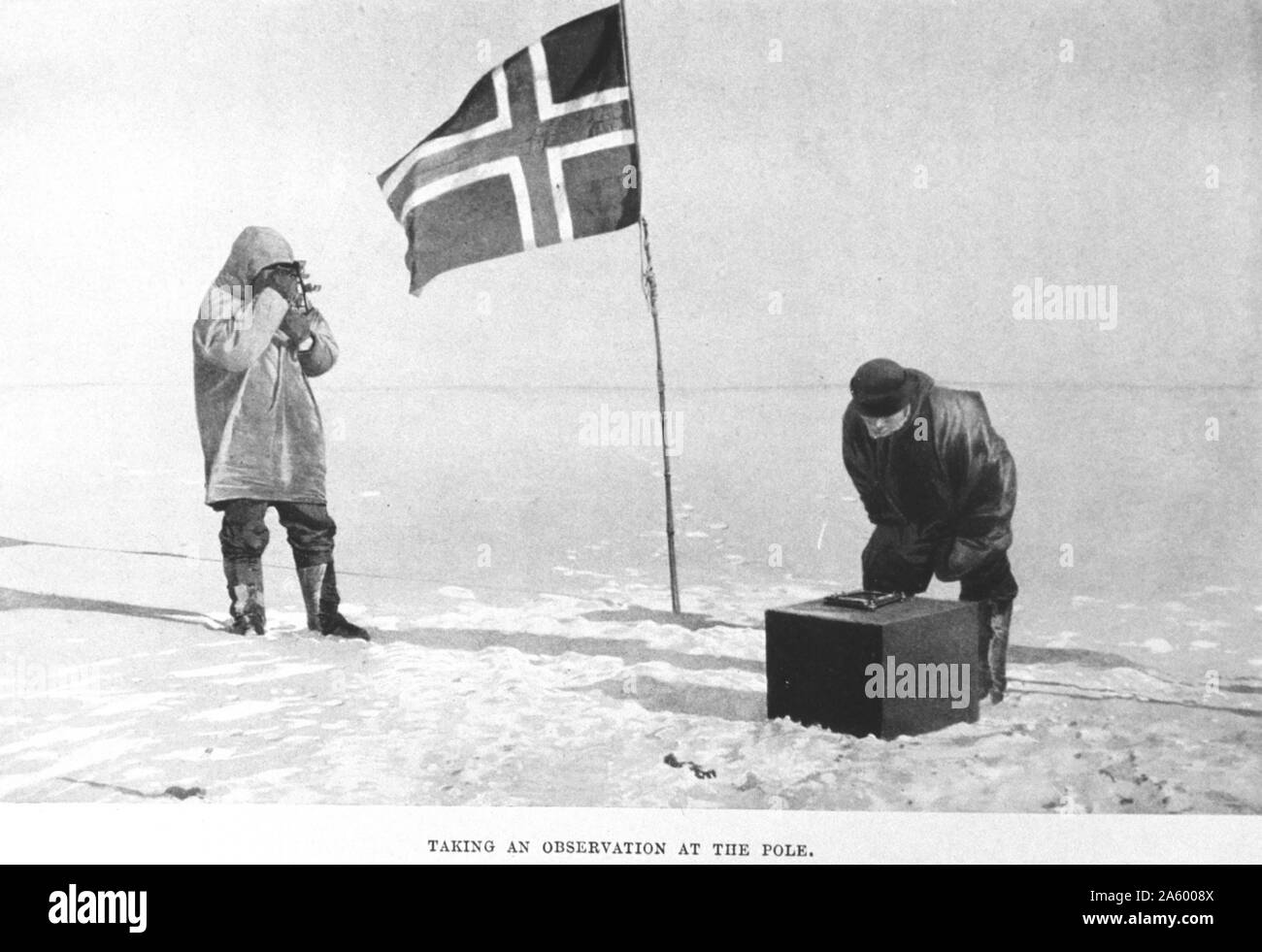 Taking an observation at the pole. In: 'The South Pole', by Roald Amundsen, 1872-1928 Stock Photo