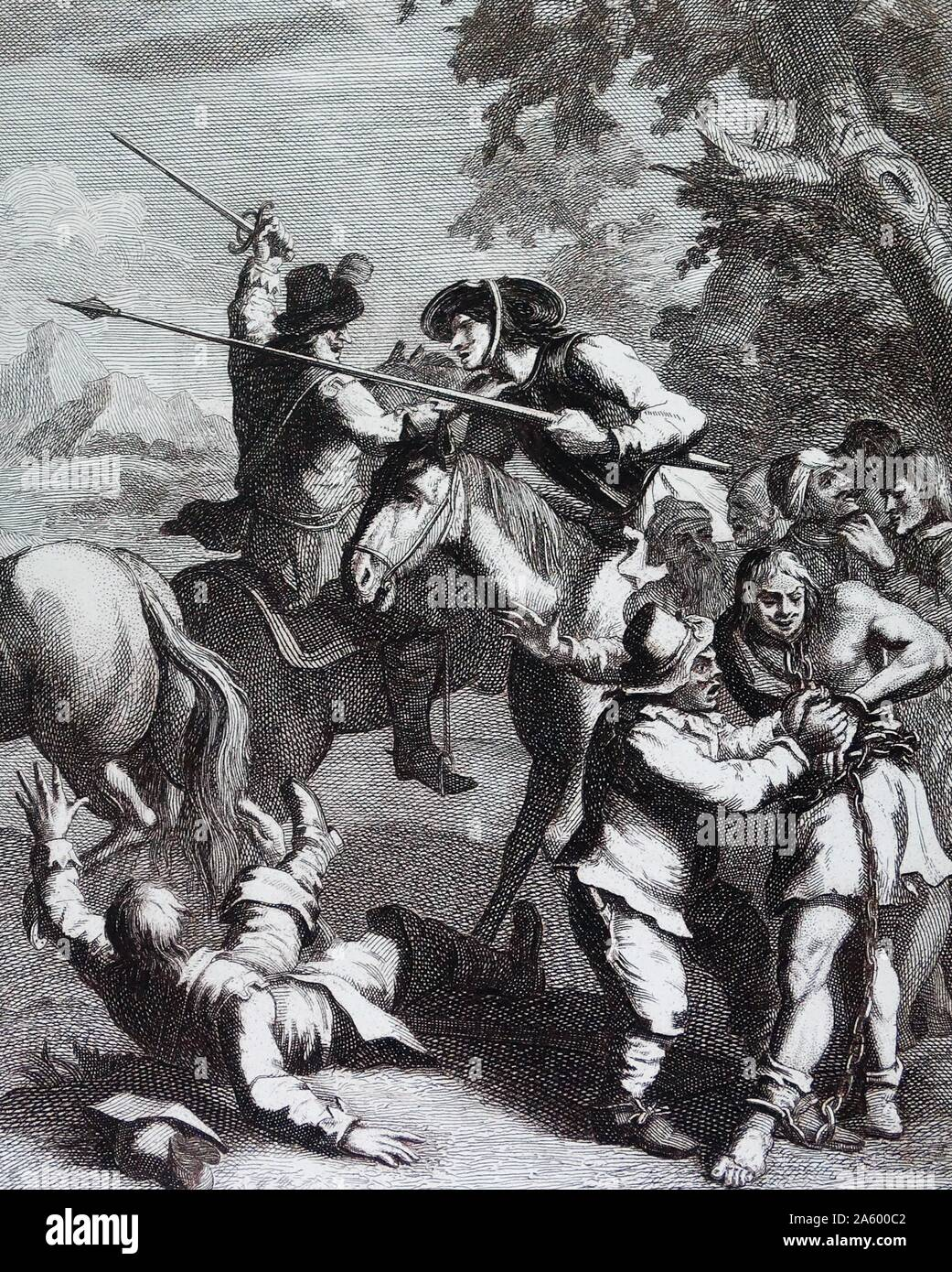 Don Quixote releases the Galley-slaves. by William Hogarth (1697–1764), English painter, printmaker, pictorial satirist. One of six Illustrations for Don Quixote by Miguel de Cervantes Stock Photo