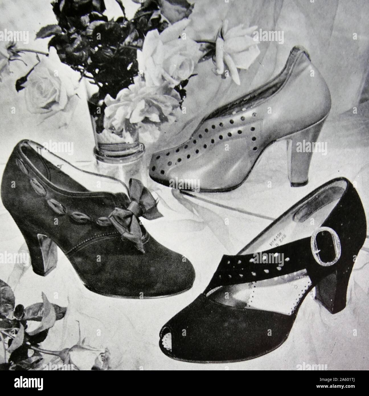 Advert for new elegant shoes by Rayne, a British manufacturer known for high-end and couture shoes. Founded in 1899 as a theatrical costumier, it diversified into fashion shoes in the 1920s. Stock Photo