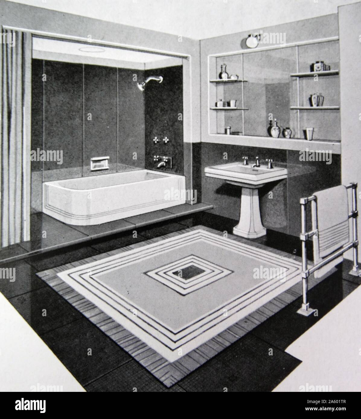 Illustration Of A 1950s Modern Bathroom Stock Photo 330686407 Alamy