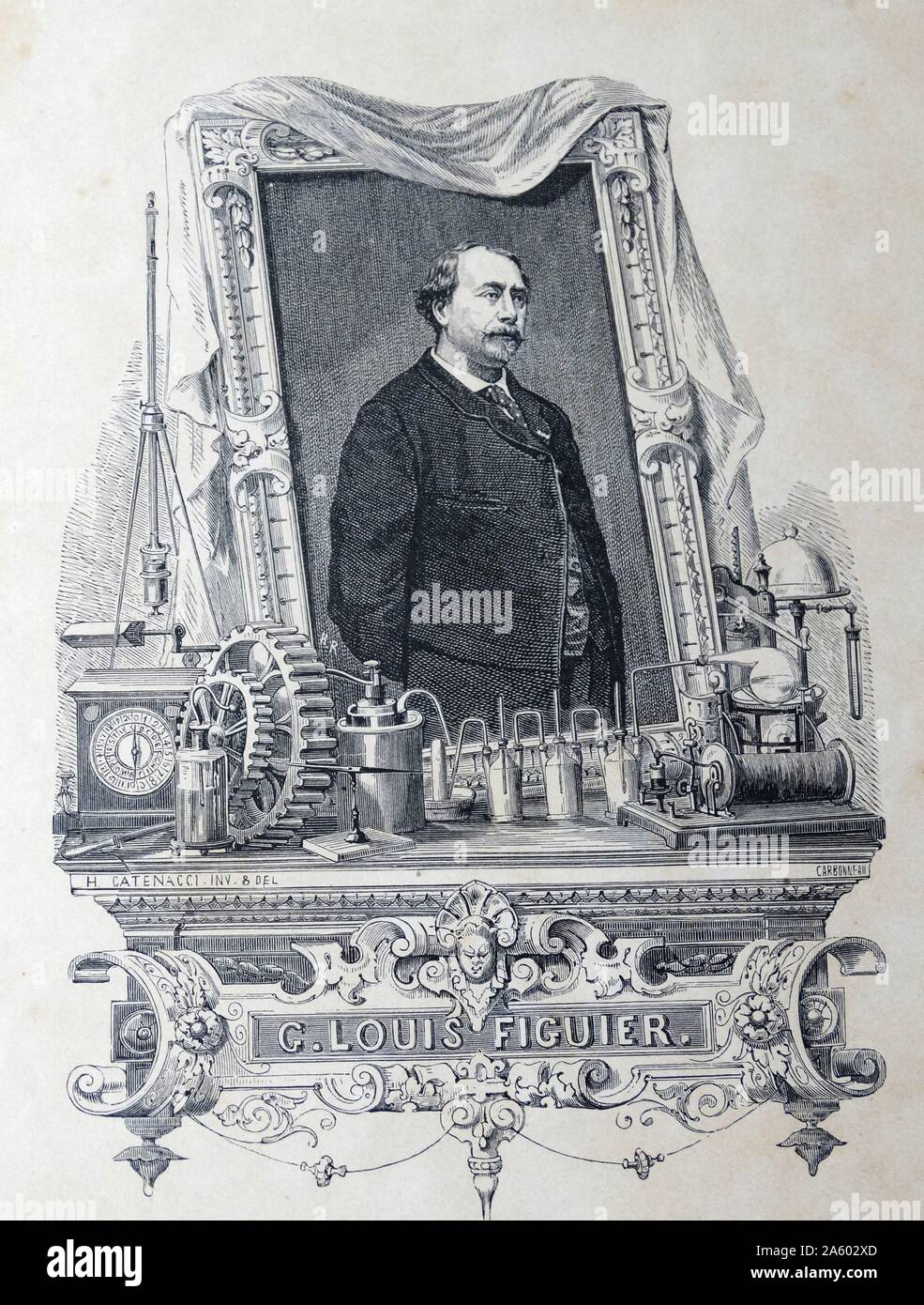 Louis FIGUIER - 1819-1894 French author who wrote prolifically on modern science, technology, industry, and naval and military developments. Stock Photo
