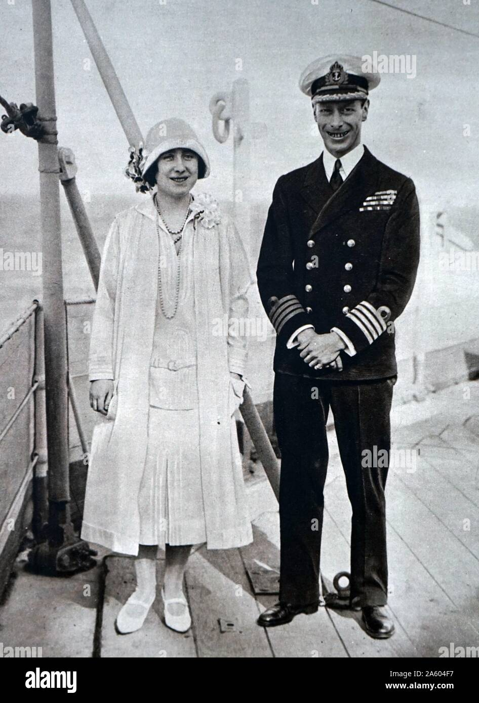 Photograph of Prince Albert Frederick Arthur George (1895-1952) and Lady Elizabeth (1900-2002) aboard the H.M.S. Renown. Dated 20th Century Stock Photo
