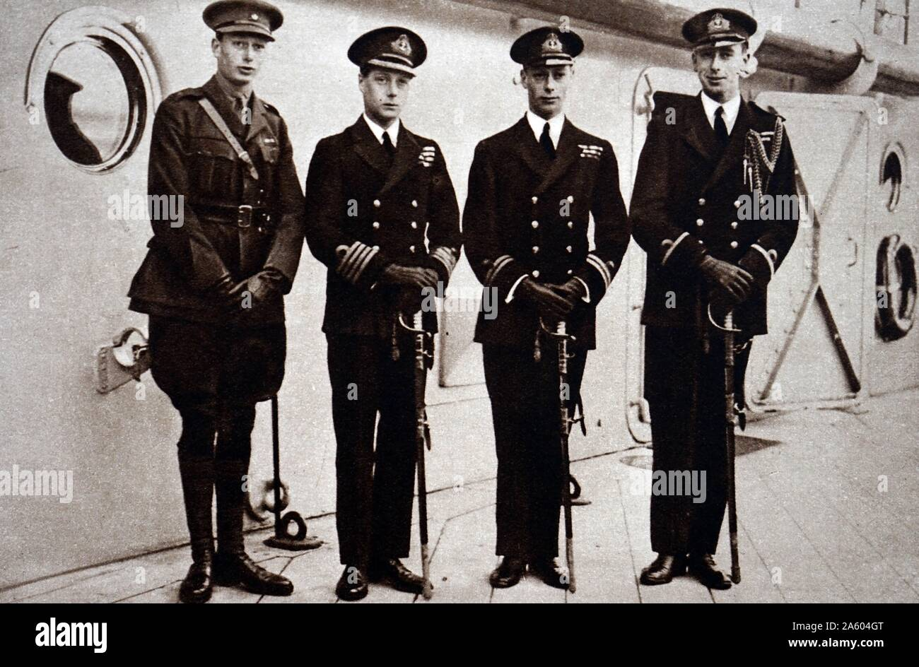 Photograph of Edward, Prince of Wales (1894-1972) leaving to visit Australasia. Also pictured is Prince Albert Frederick Arthur George (1895-1952) and Prince Henry, Duke of Gloucester (1900-1974) to bid him farewell. Dated 20th Century Stock Photo