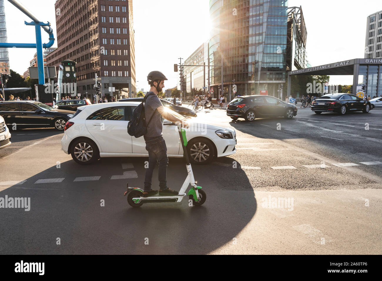 Man using e-scooter in Berlin, Germany Stock Photo