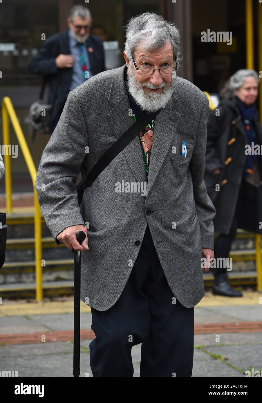 Extinction Rebellion activist John Lynes, 91, leaving Folkestone Magistrates' Court where he denied disobeying a police condition during a demonstration as Extinction Rebellion activists sought to blockade the Port of Dover. Stock Photo