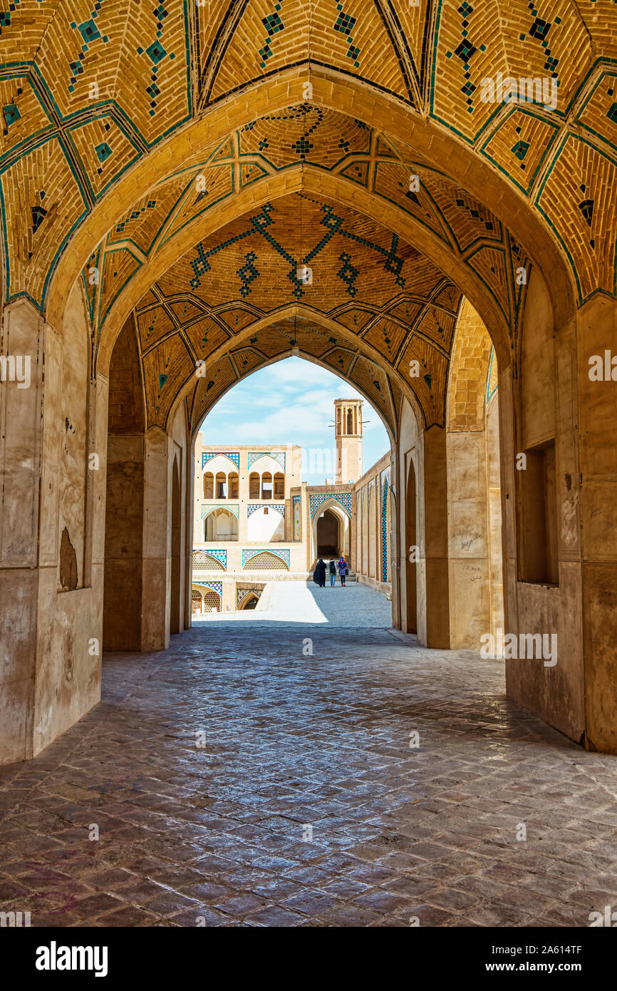 Agha Bozorg Mosque, Kashan, Isfahan Province, Islamic Republic of Iran, Middle East Stock Photo