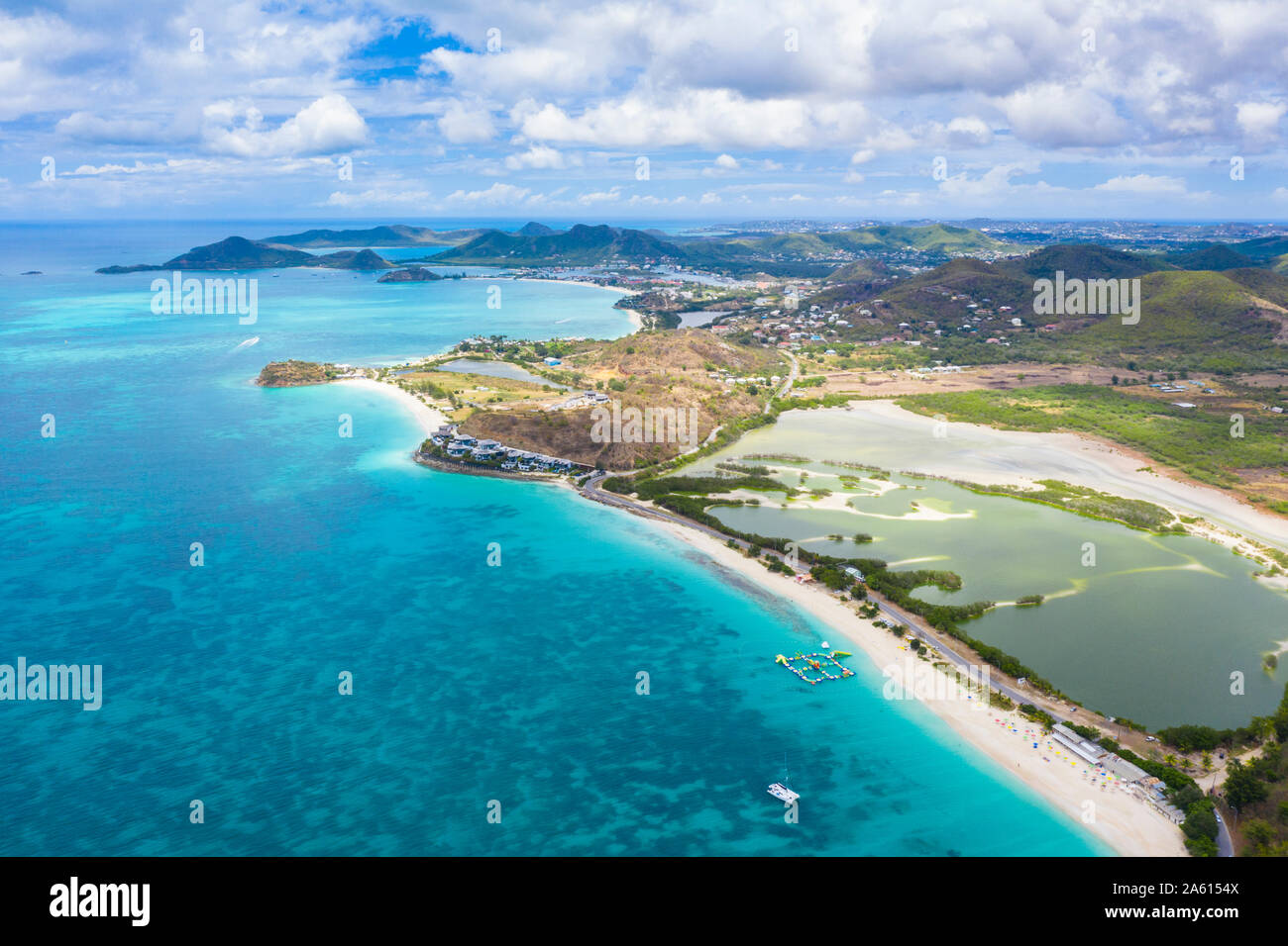 Aerial view by drone of Darkwood Beach and tropical lagoon, Antigua, Leeward Islands, West Indies, Caribbean, Central America Stock Photo
