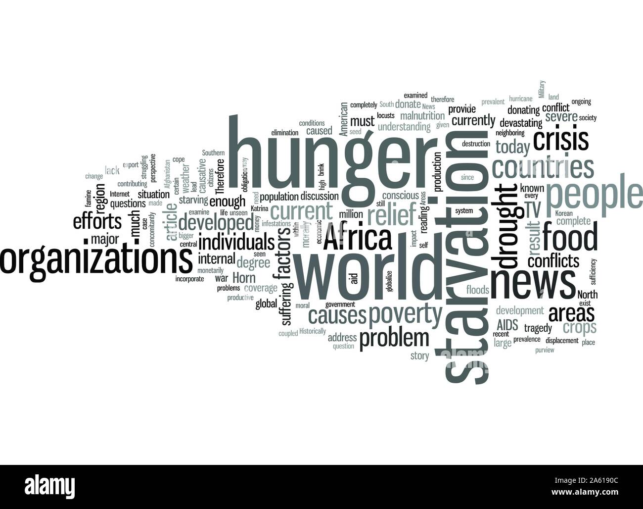 The Current Status of World Hunger Stock Vector