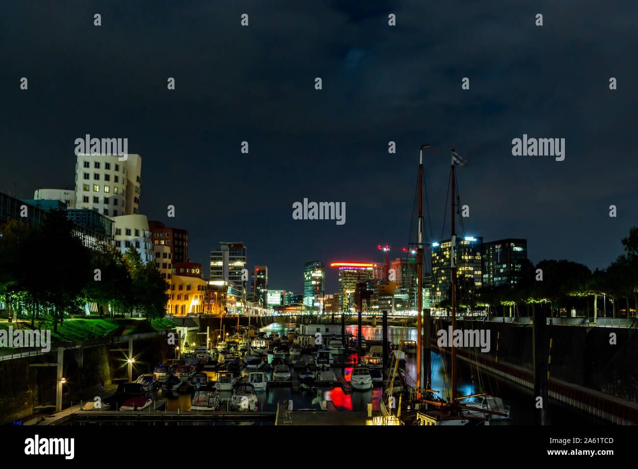 Nightshoot of the Media Harbour Duesseldorf Stock Photo