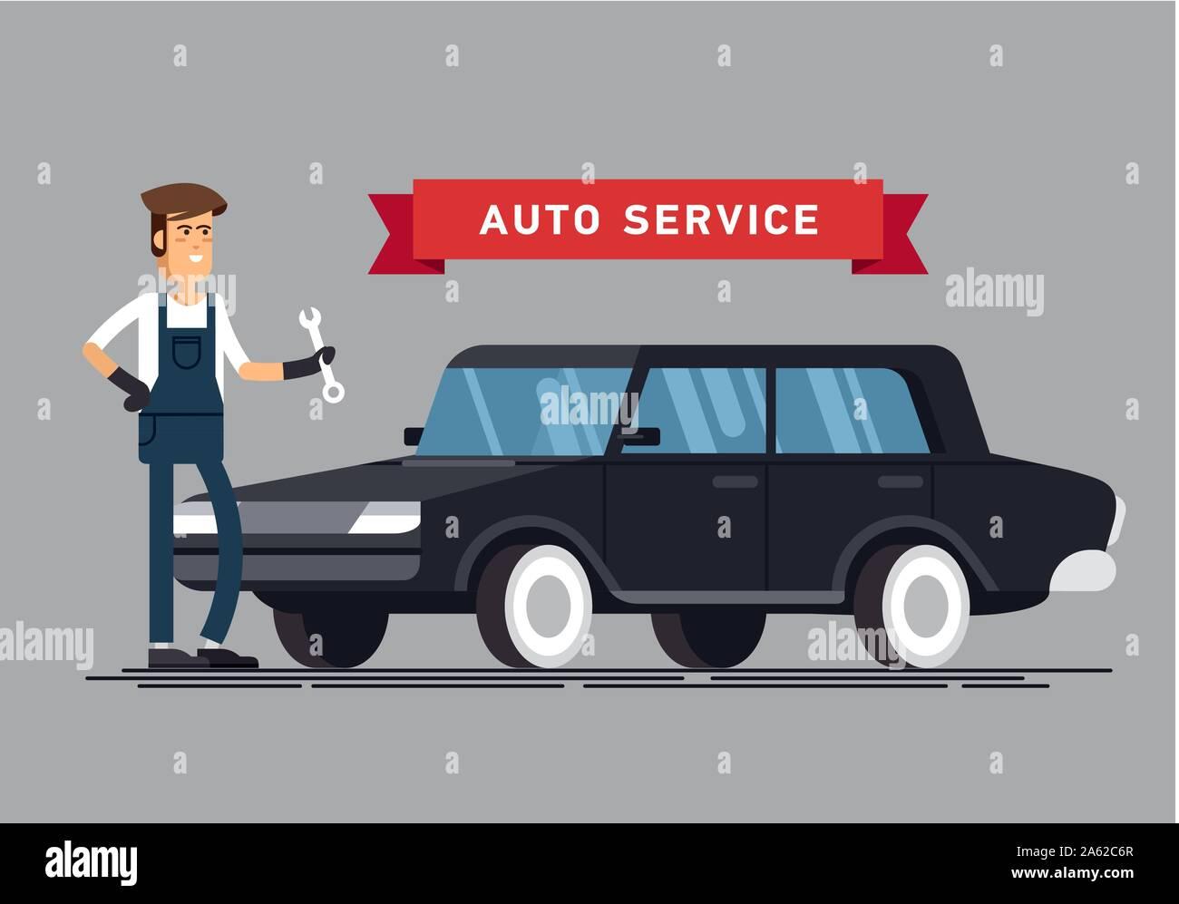Car Repair And Maintenance >> Car Repair Shop And Auto Service Vector Illustrations