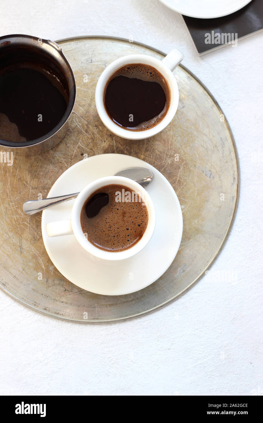 Cups Of Espresso Served On A Serving Tray Freshly Made Coffee Top View Coffee Break Refreshment Stock Photo Alamy
