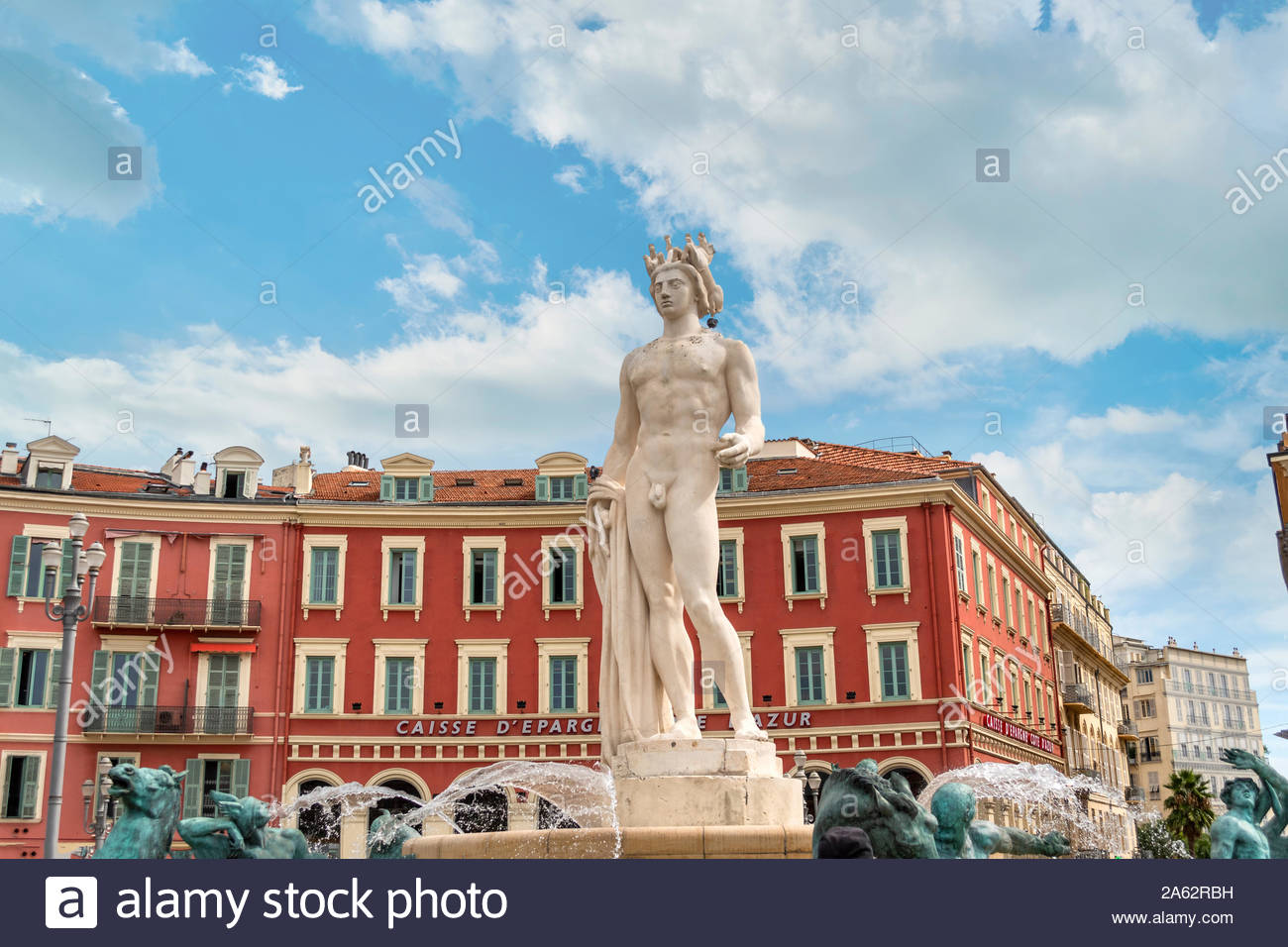 The Apollo Statue at the Fountain of the Sun in colorful Place Massena, in the city of Nice France, on the French Riviera. Stock Photo
