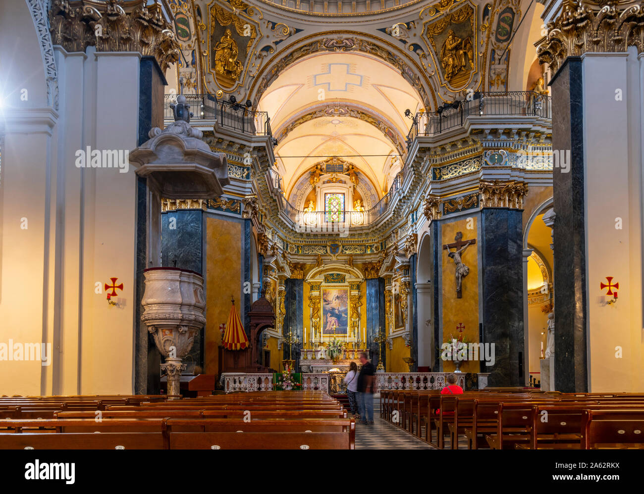 One of the 10 interior chapels inside the baroque Sainte Reparate Cathedral, the Cathedral of Nice, France. Stock Photo