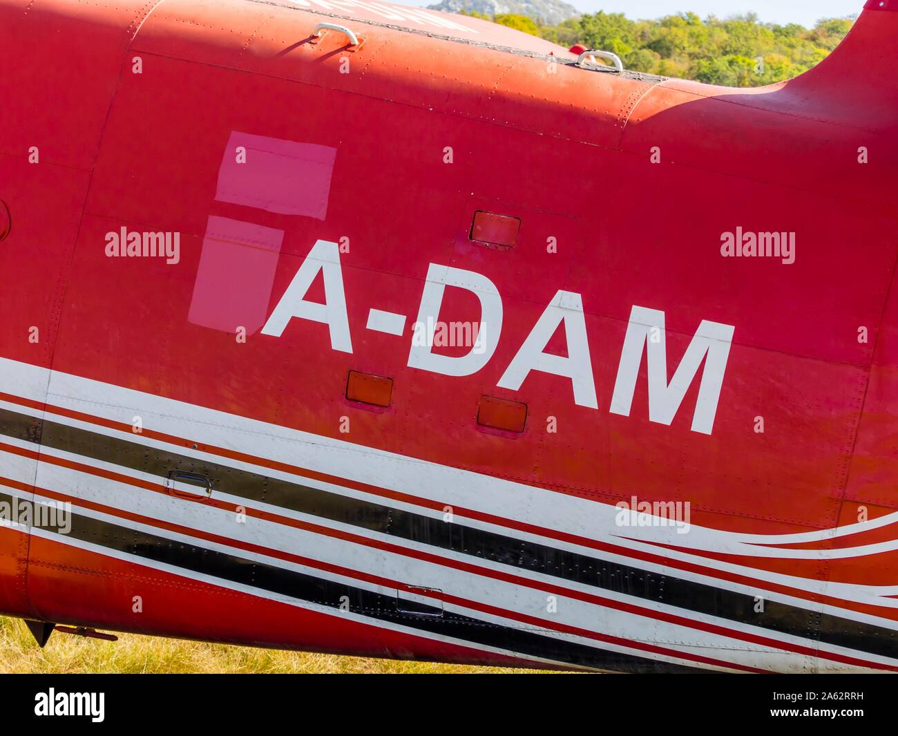 """Antonov (PZL-Mielec) An-2R - Air-Tractor 9A-DAM on airport Grobnik October 2019 in livery for filming movie series """"Strike back"""", registration A-DAM Stock Photo"""