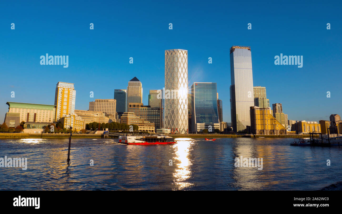 Canary Wharf Financial Complex at Docklands in London  Photo Nov 2019 Stock Photo