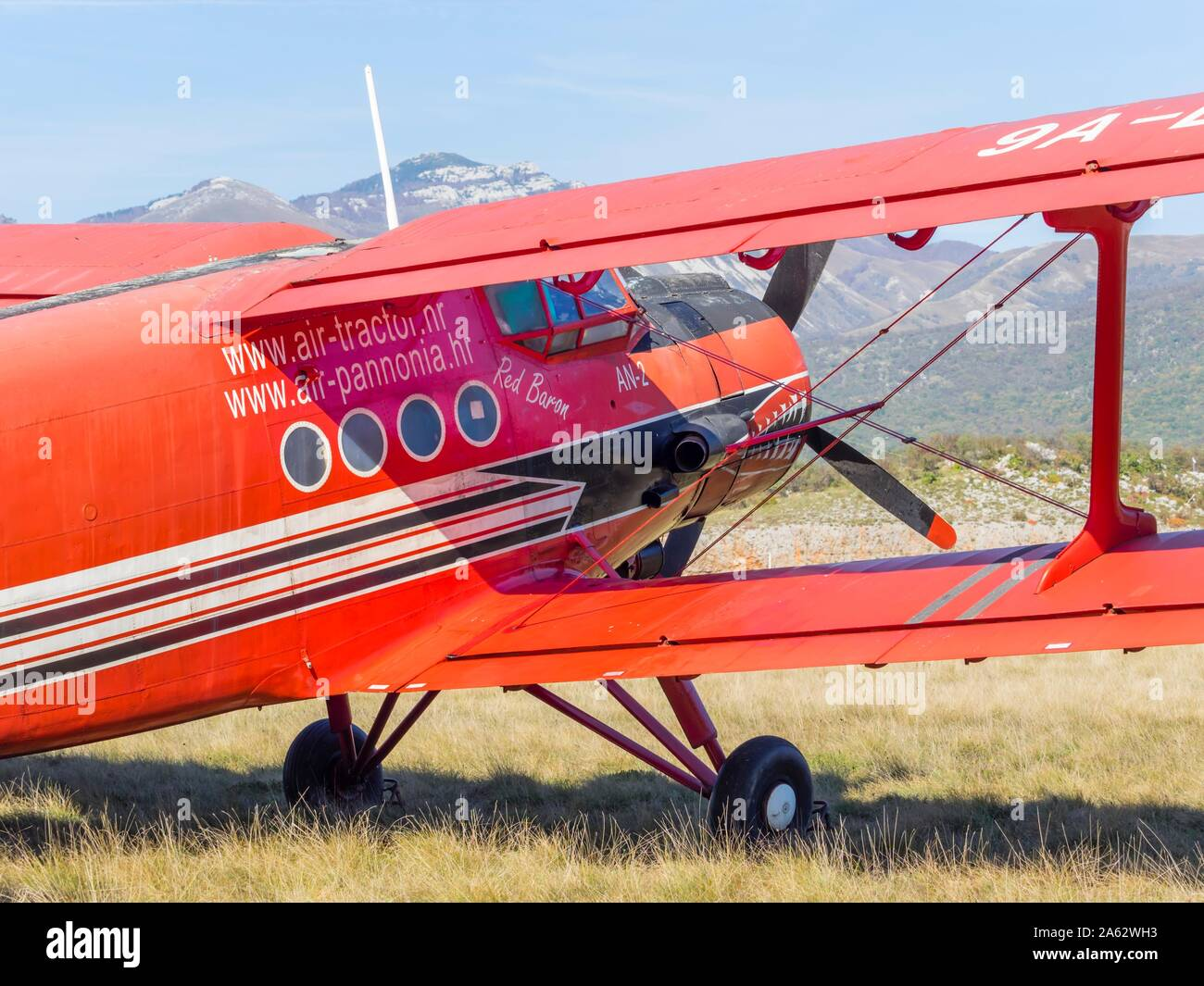 """Antonov (PZL-Mielec) An-2R - Air-Tractor 9A-DAM on airport Grobnik October 2019 just after participating in filming movie series """"Strike back"""" Stock Photo"""