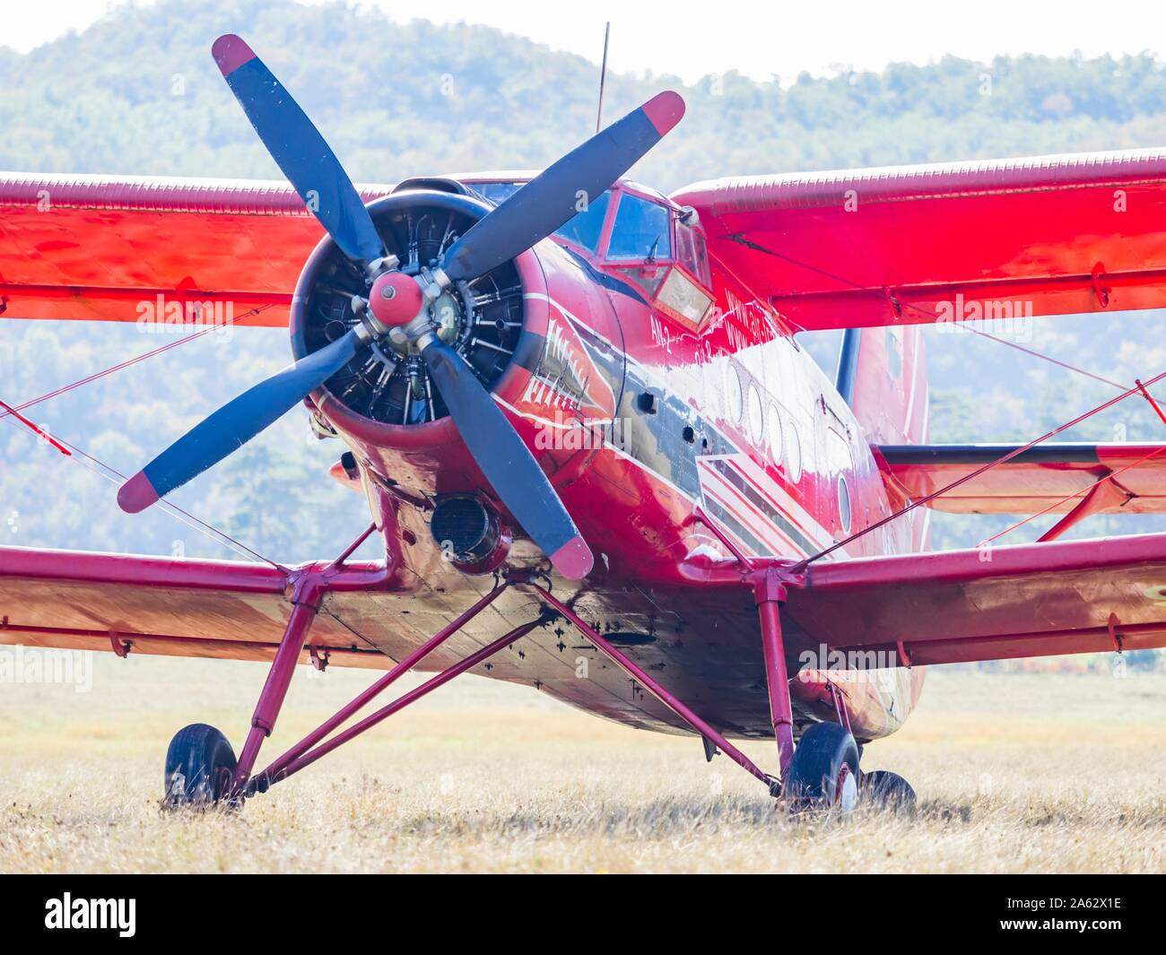 "Antonov (PZL-Mielec) An-2R - Air-Tractor 9A-DAM on airport Grobnik October 2019 just after participating in filming movie series ""Strike back"" Stock Photo"