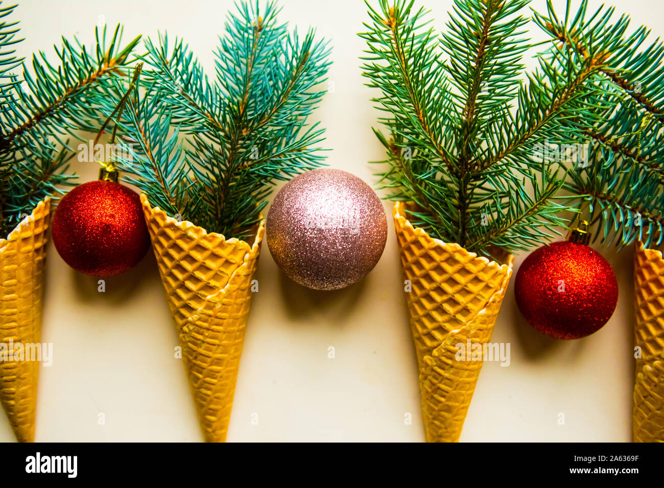 Christmas Tree Branches With Decorations In Waffle Cones Stock Photo Alamy