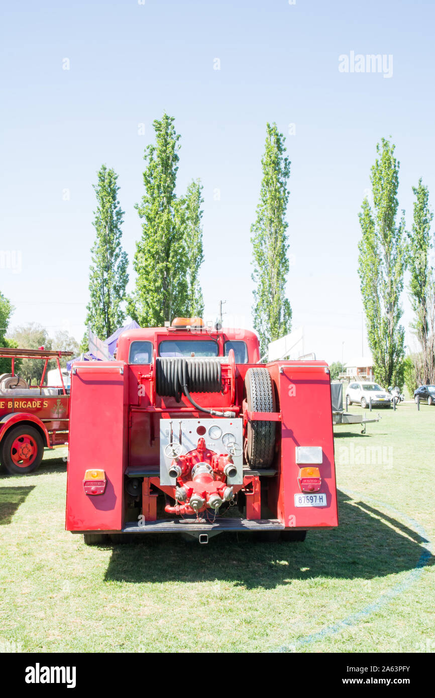 Rear view of a vintage Ford Fire Engine truck. Stock Photo