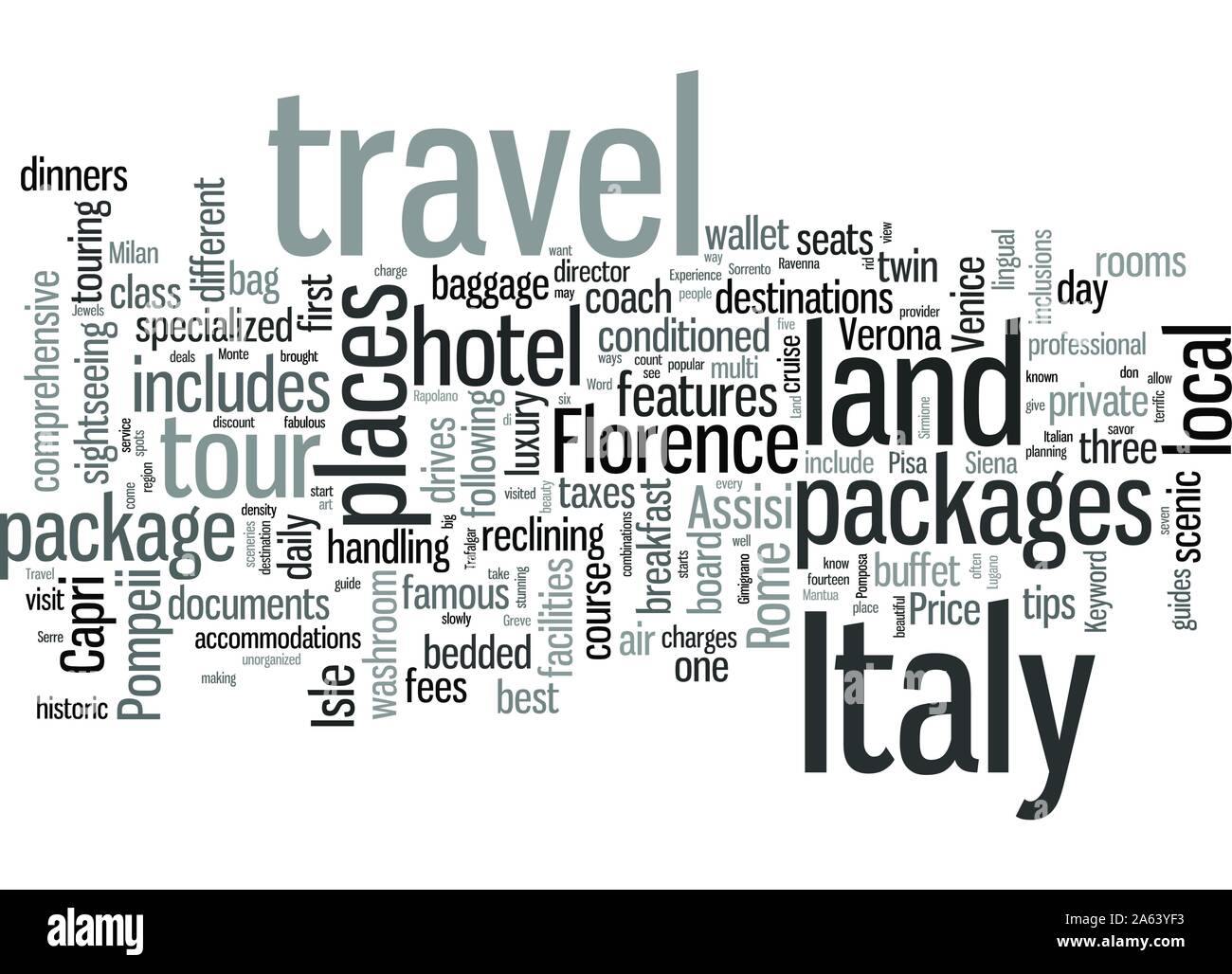 Italy Land Travel Packages Stock Vector