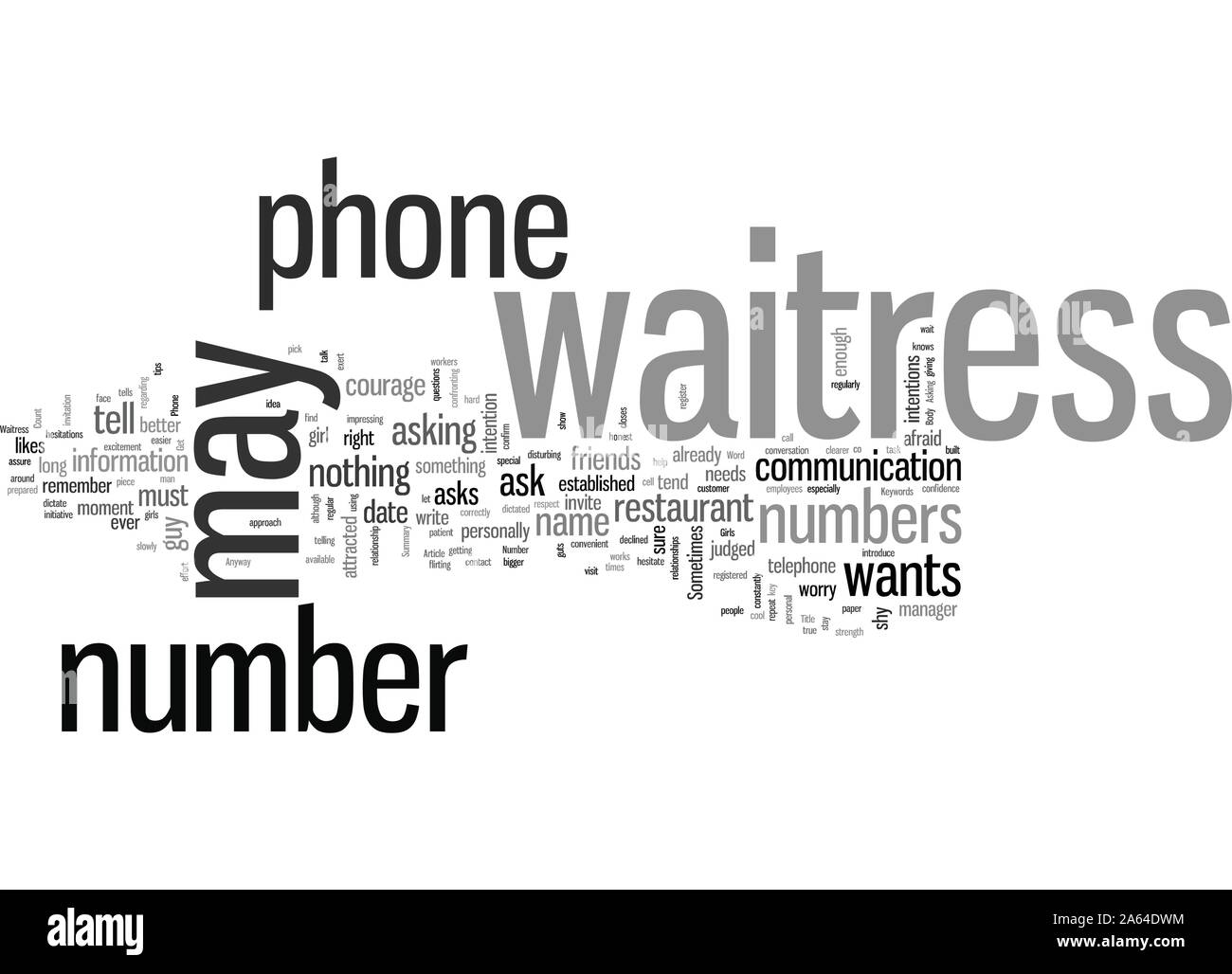 How To Get A Waitress Phone Number Stock Vector