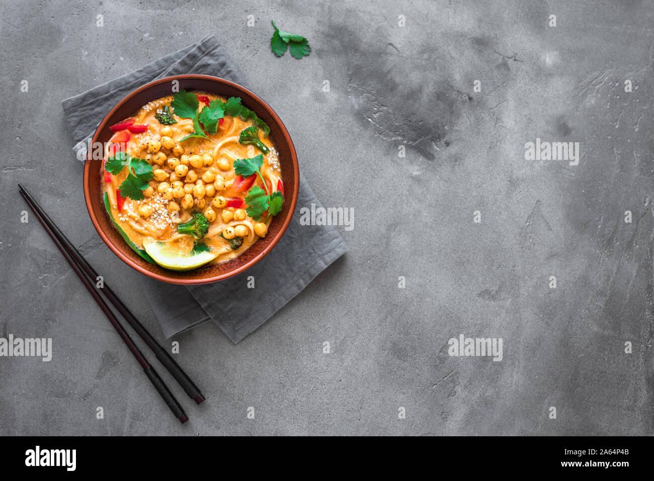 Vegetarian Laksa Soup Vegetable Noodle Laksa Soup On Black Background Top View Copy Space Asian Malaysian Vegan Vegetarian Food Stock Photo Alamy