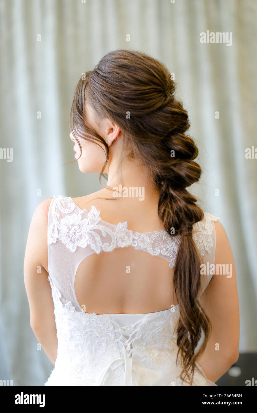 Back View Of Caucasian Brunette Bride With Braid Hair At Photo Studio Stock Photo Alamy