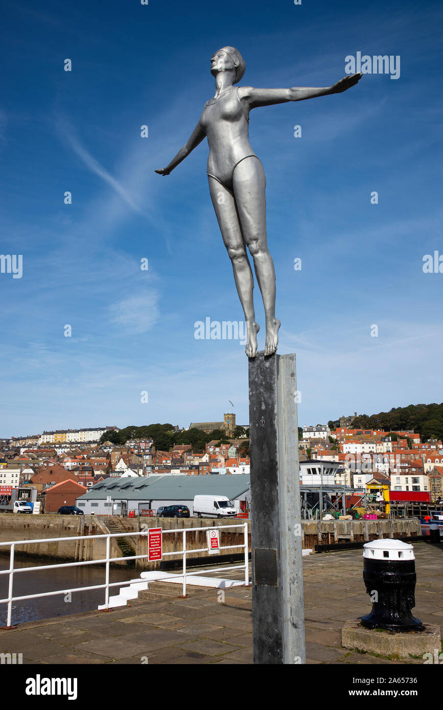 The Beautiful Bathing Belle Statue on the Pier By Scarborough Harbour North Yorkshire England United Kingdom UK Stock Photo