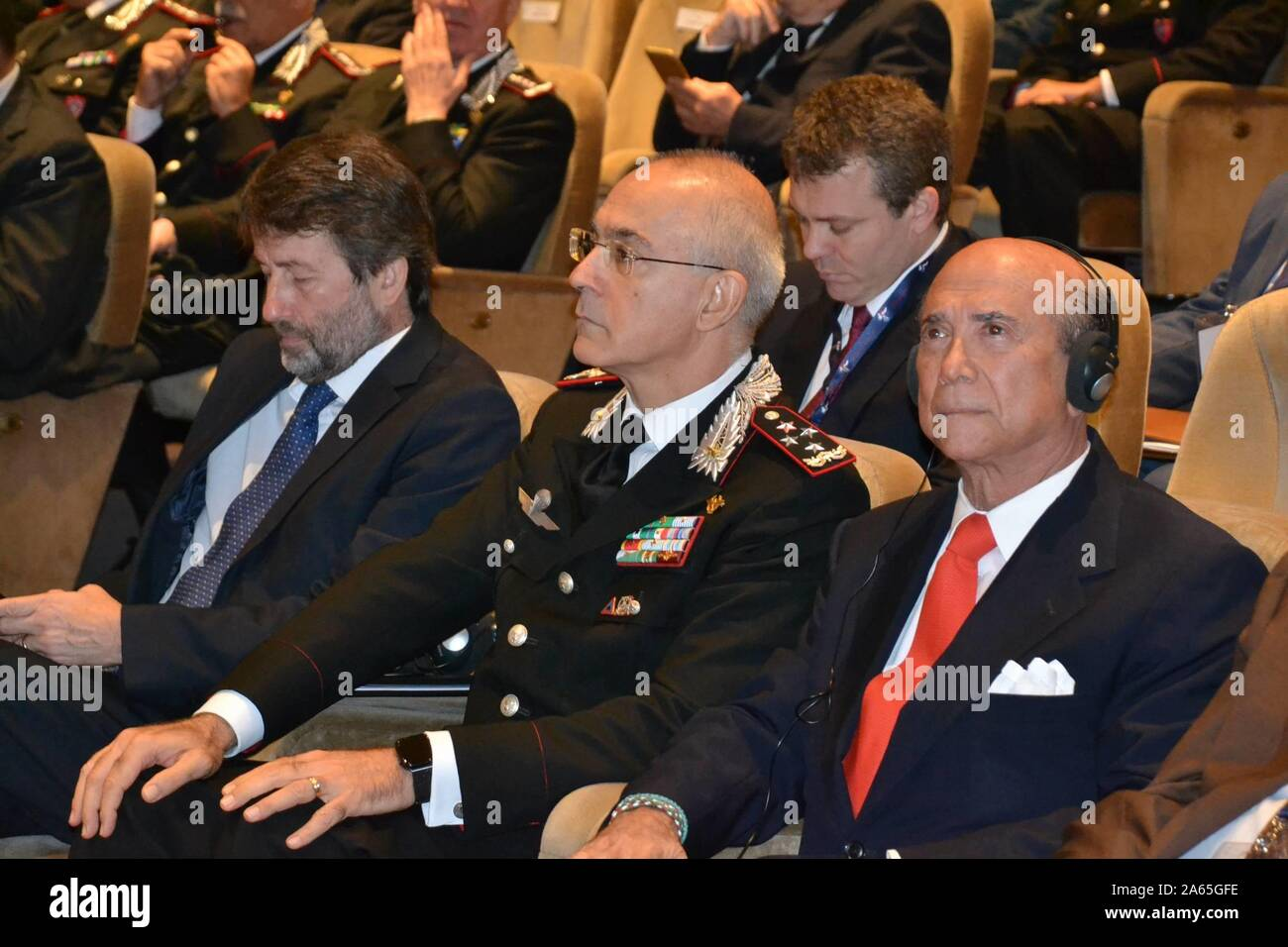 Ceremony this morning at the Carabinieri Officers' School for the return of a Roman sculpture that had been stolen and taken to America. In the photo Dario Franceschini the US ambassador Lewis Eisenberg the general commander Arma Carabinieri Giovanni Nistri (Marcellino Radogna/Fotogramma, Rome - 2019-10-24) p.s. Credit: Independent Photo Agency Srl/Alamy Live News Stock Photo