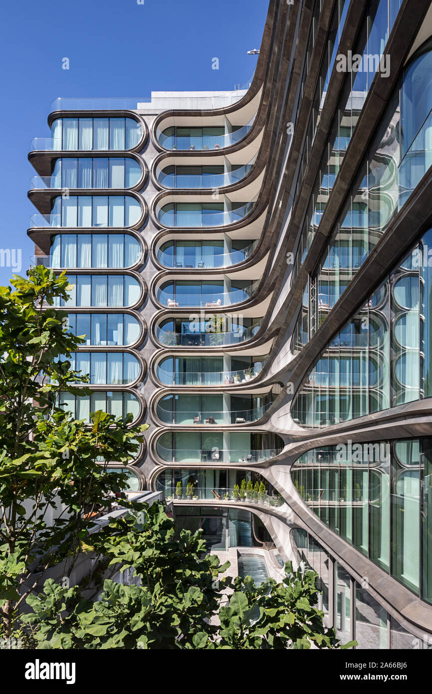 520 West 28th Street in New York by Zaha Hadid. Viewed from the High Line. Stock Photo