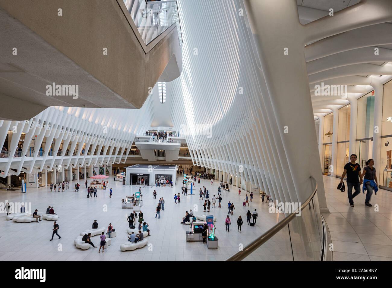 The Oculus, New York City Transportation Hub at the  World Trade Center site, Ground Zero. Stock Photo