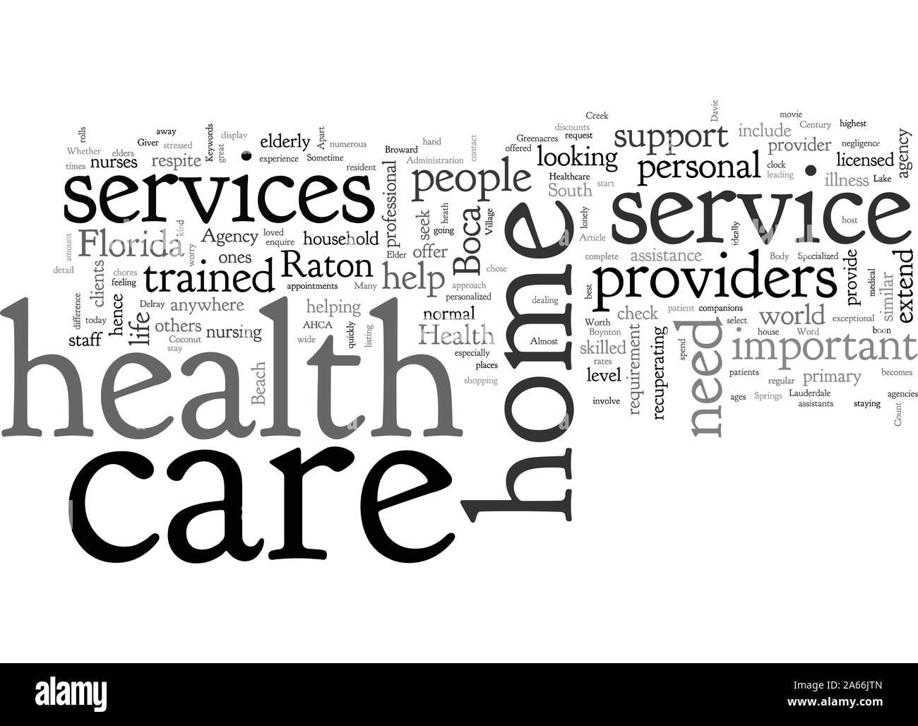 Boca Raton Home Health Care and Elder Care Stock Vector