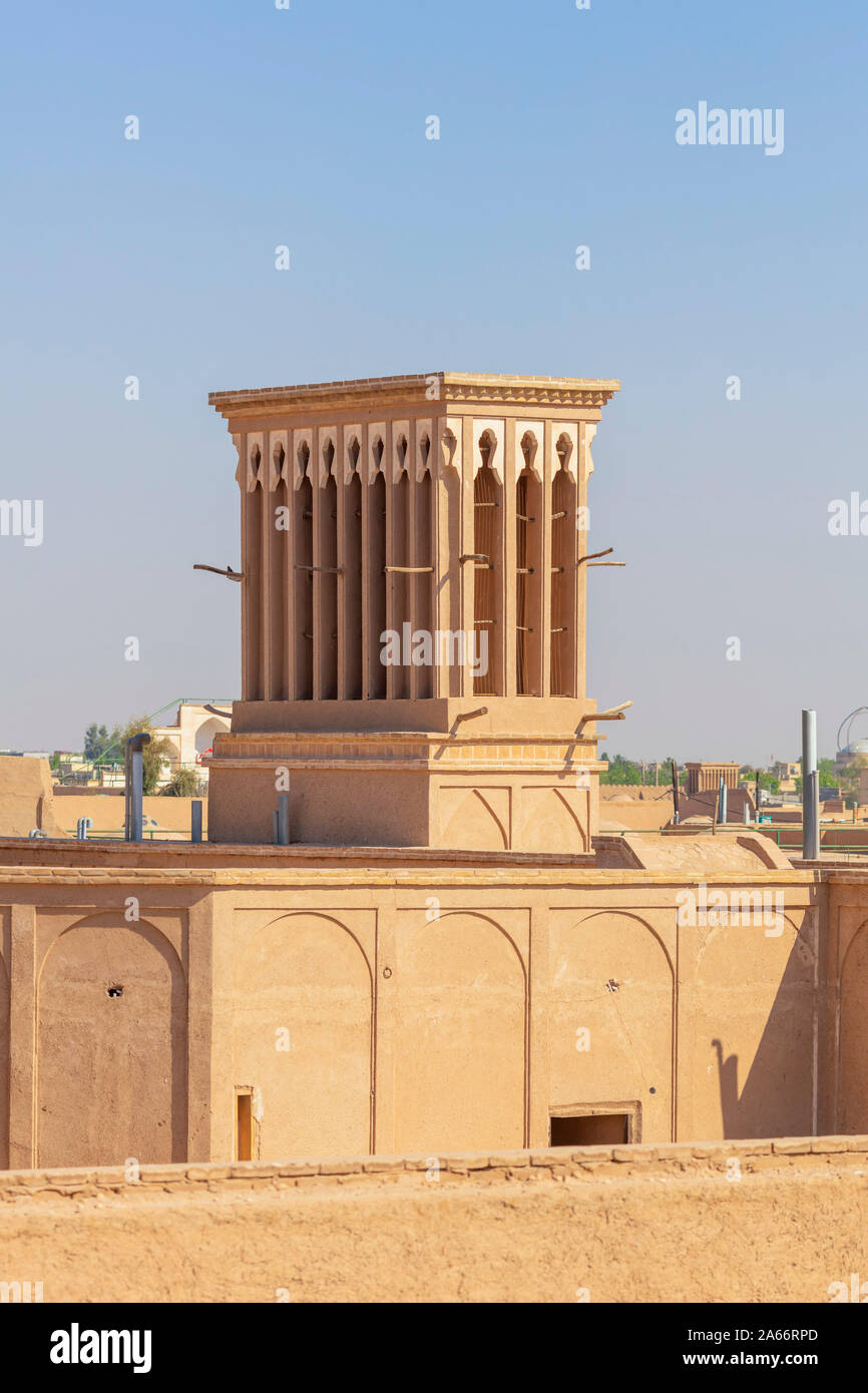 Windcatcher, windtower, badgir, Yazd, Yazd Province, Iran Stock Photo