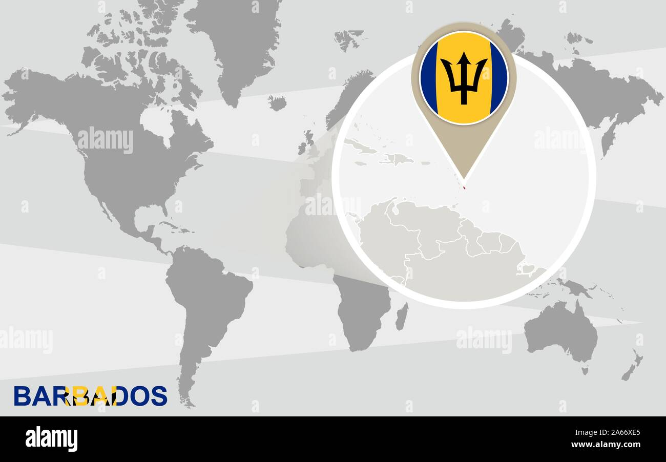 Picture of: World Map With Magnified Barbados Barbados Flag And Map Stock Vector Image Art Alamy
