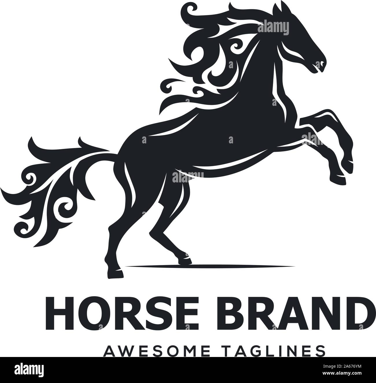 Horse Jumping Silhouette Vector Illustration Modern And Simple Flat Symbol Stock Vector Image Art Alamy