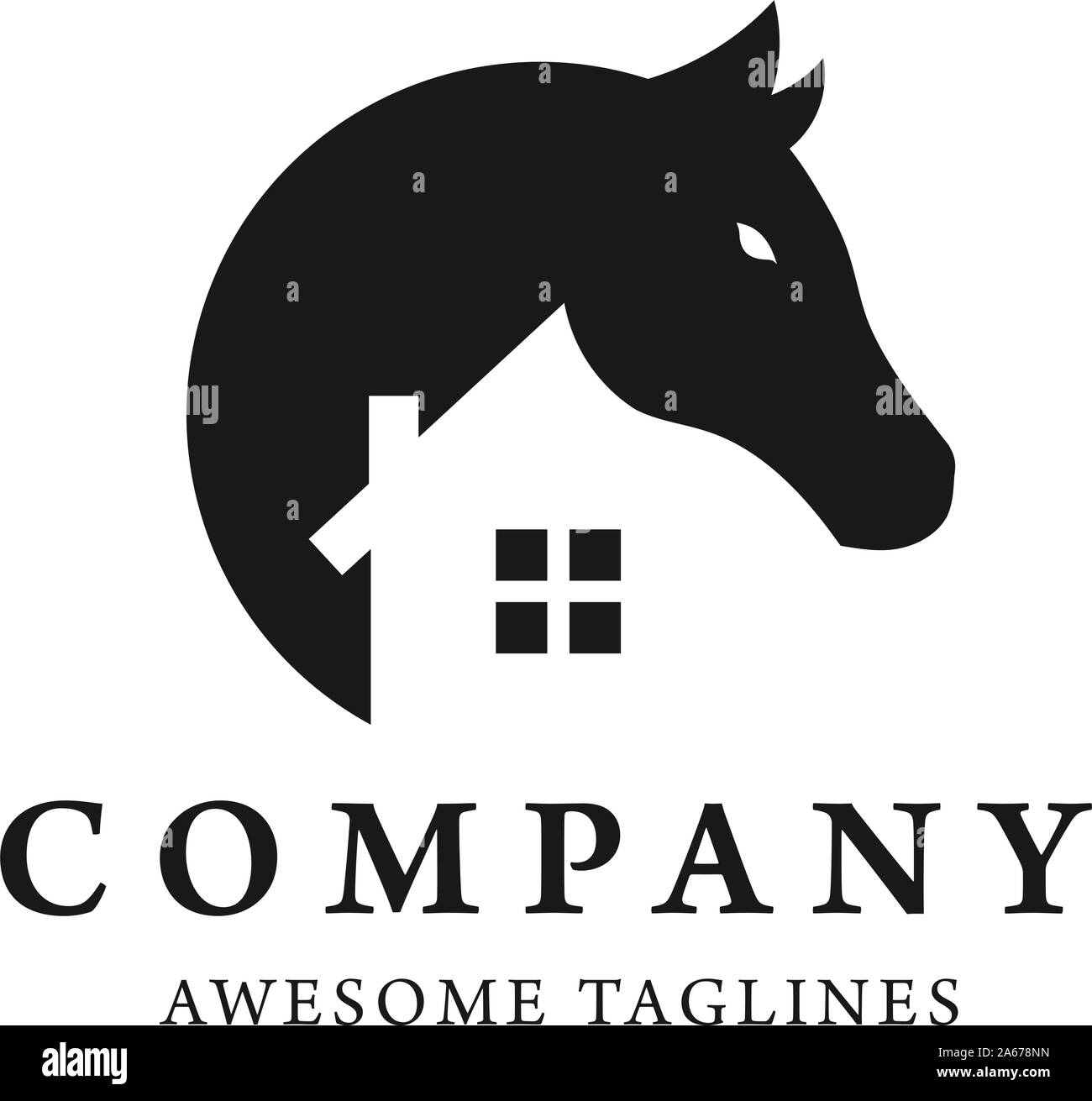 Simple Horse And House Logo Design Template This Logo Is Very Suitable For Real Estate Interior Art Studio Etc Stock Vector Image Art Alamy