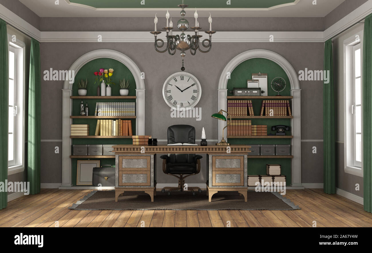Classic Style Home Office With Old Desk And Niches With Books Ion