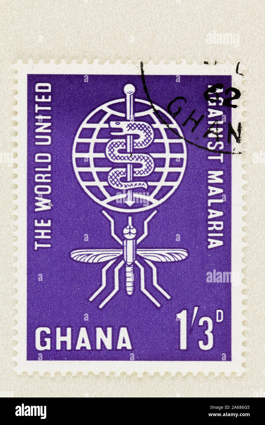 Close up of Ghana postage stamp promoting Malaria eradication, a 1962 world campaign supported by 101 countries. Purple stamp with mosquito. Stock Photo