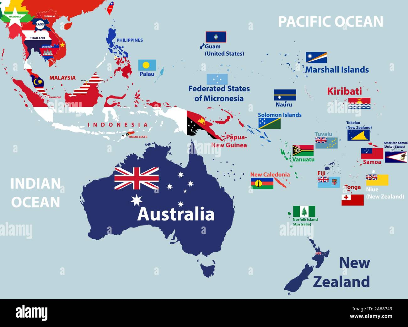 Picture of: Vector Map Of Australia Oceania And South East Asian Countries Mixed With Their National Flags Stock Vector Image Art Alamy