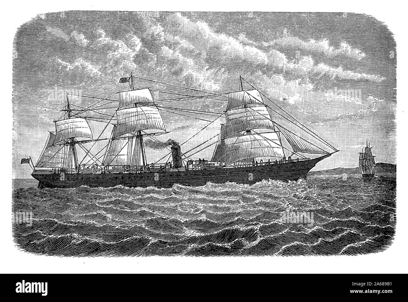 19th century transatlantic cargo steamer  across the Atlantic Ocean between Western Europe and North America Stock Photo