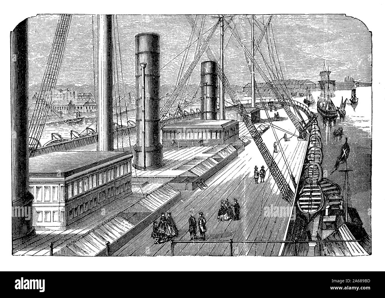 The after deck  of the Great Eastern  iron sailing steamship launched in 1858 the largest ship ever built at that time Stock Photo