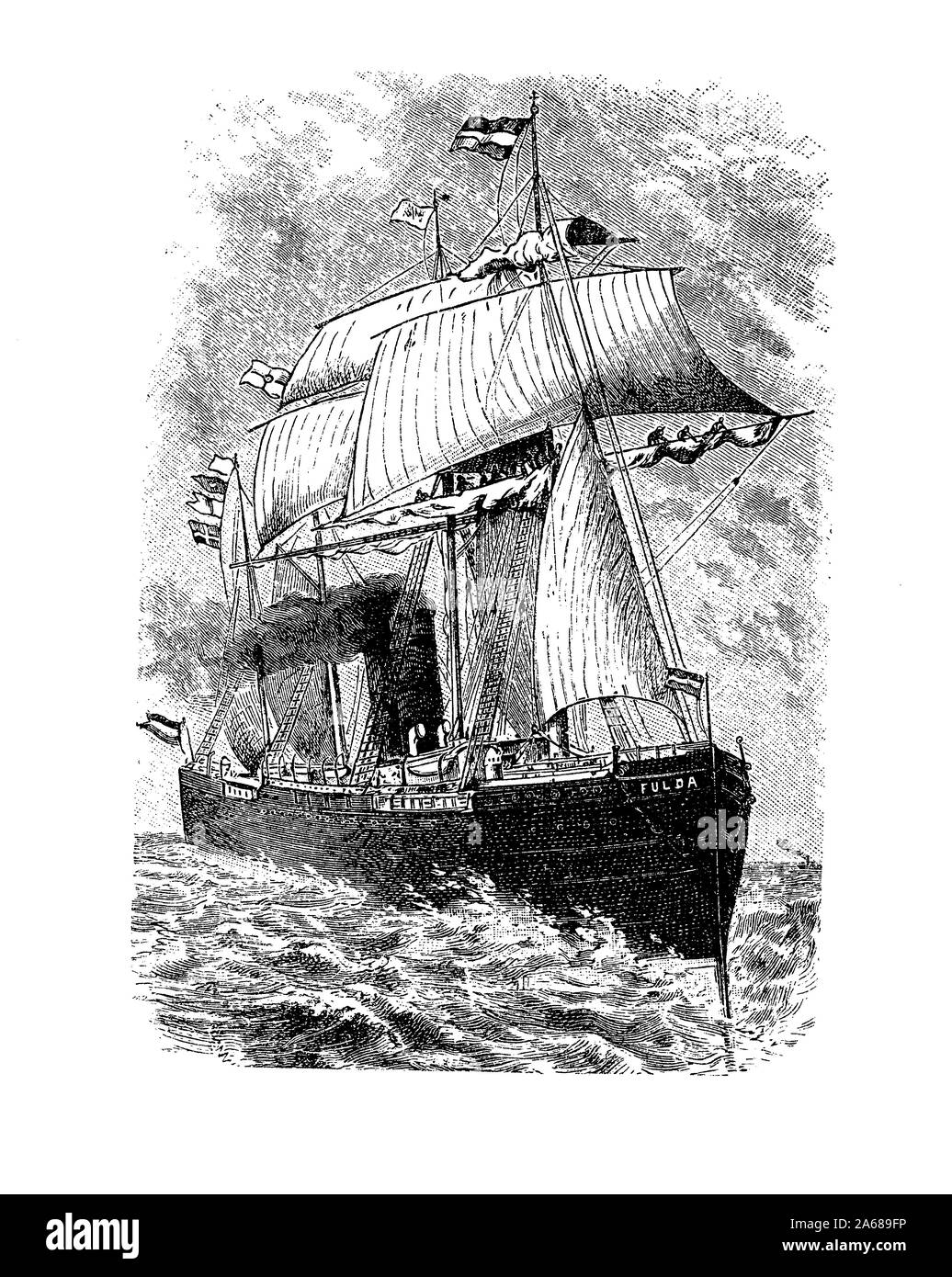 The transatlantic steam-ship Fulda of the fleet of the North German Lloyd Company, cargo and passenger speedboat with many decorated saloons and cabin, 19th century Stock Photo